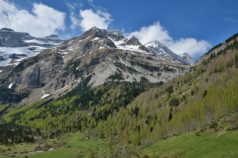 Vallée verte au cirque de montagne de Gavarnie photos libres de droits
