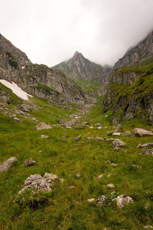 Vallée verte spectaculaire dans les montagnes photos libres de droits