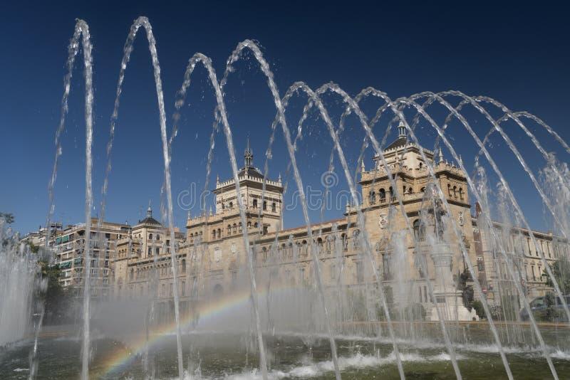 Valladolid Castiglia y Leon, Spagna: fontana immagini stock libere da diritti