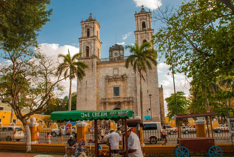 Valladolid, Mexico. Cathedral de San Servasio during the day in Valladolid the city in Yucatan, Mexico. royalty free stock image
