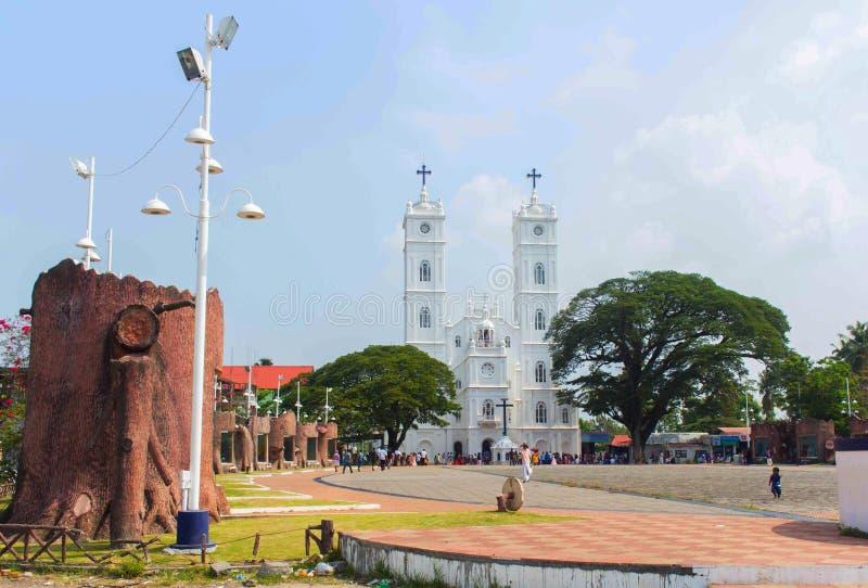 Vallarpadam Church. Vallarpadam, Ernakulam, Kerala, India - April 4,2016: National Shrine Basilica of Our Lady of Ransom stock images