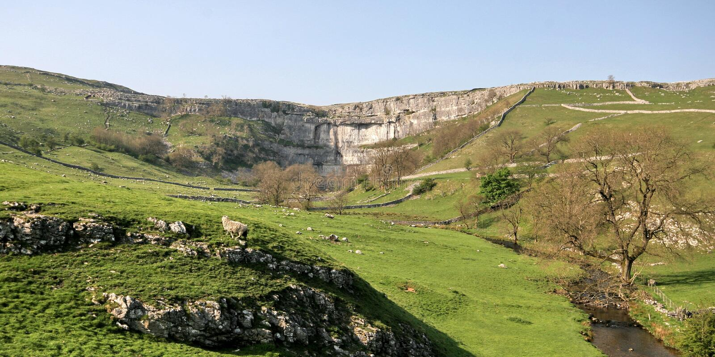Vallate del Yorkshire, baia di Malham fotografie stock libere da diritti