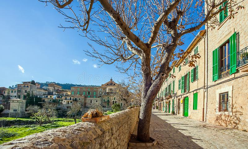Valldemossa Mallorca Spain In the old town of Valldemossa. Valldemossa Mallorca Spain 20.December 2018 In the old town of Valldemossa royalty free stock photos