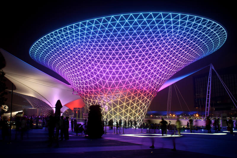 Valle asoleado del bulevar de la expo del mundo de Shangai imágenes de archivo libres de regalías