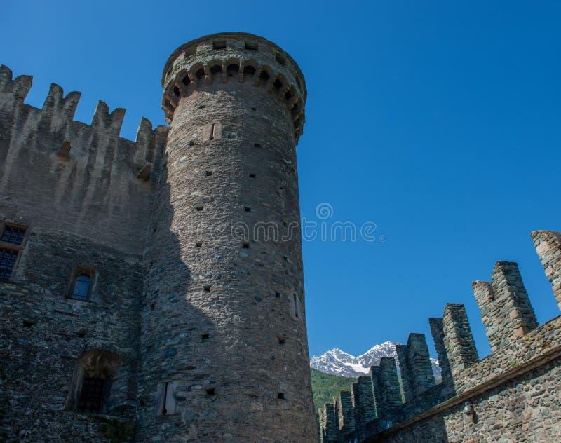 Valle D ?Aosta Kasteel F?nis stock fotografie