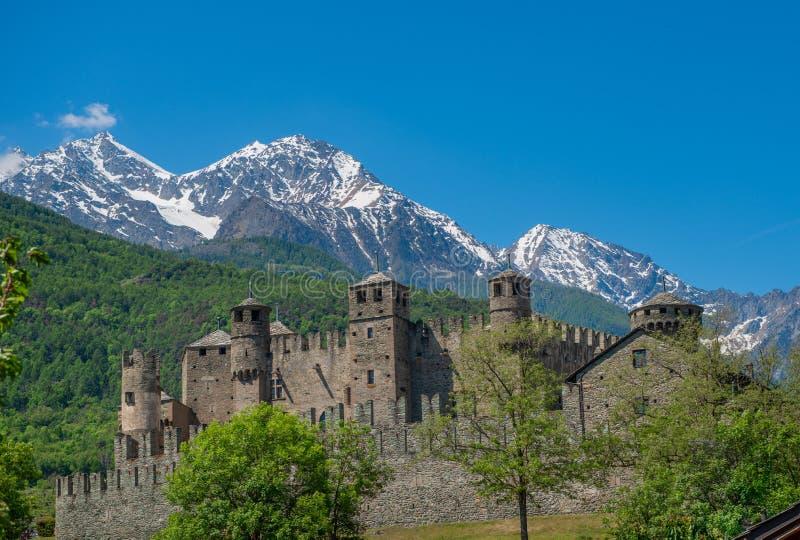 Valle D ?Aosta Kasteel F?nis royalty-vrije stock afbeelding