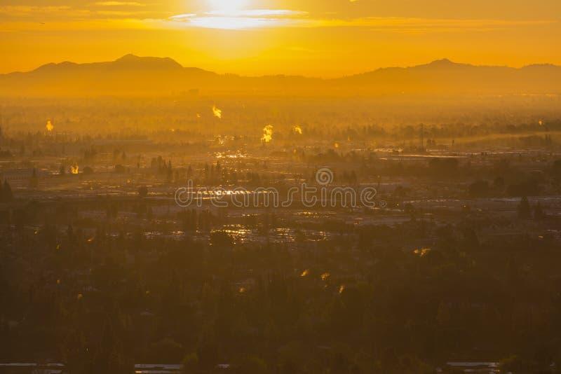 Valle Dawn Sunburst Los Angeles California immagine stock