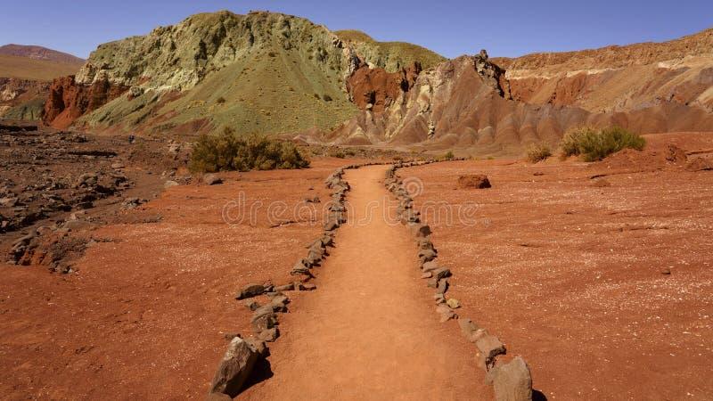 Valle DE Arcoiris, San Pedro de Atacama, Chili stock afbeelding