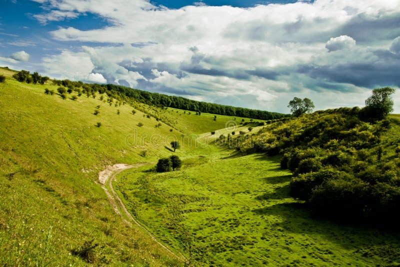 Valle de color verde oscuro en North Yorkshire fotos de archivo libres de regalías