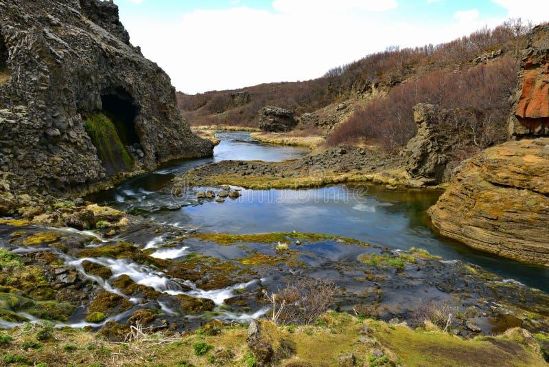Valle de Gjain con sus cascadas en Islandia imágenes de archivo libres de regalías