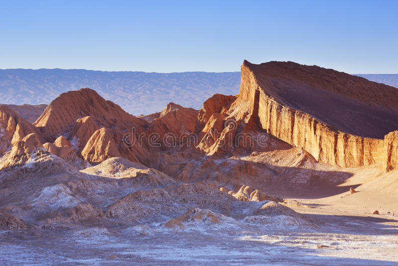 Valle-De-La Luna, Atacama-Wüste, Chile bei Sonnenuntergang stockfotografie