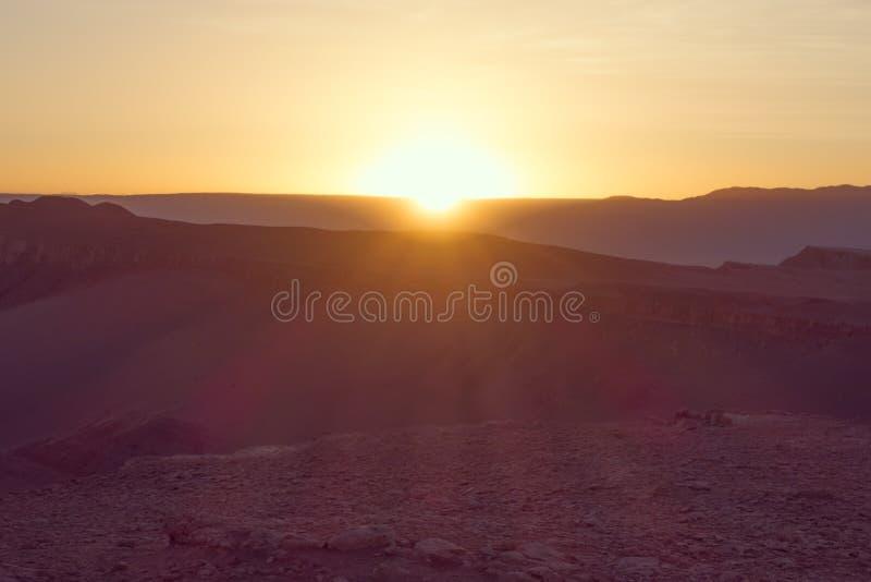 Valle-De-La Luna bei Sonnenuntergang in San Pedro de Atacama, Chile stockfoto