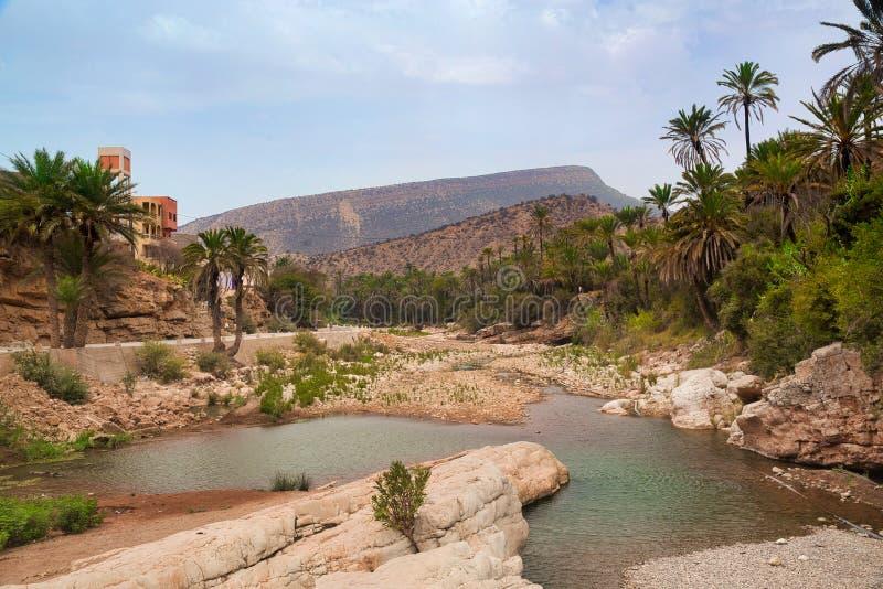 Valle de Paradise del oasis en las montañas Agadir, Marruecos imagenes de archivo