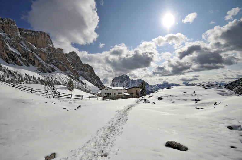 Valle de Val Gardena, Italia imagen de archivo libre de regalías