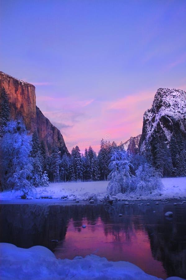Valle de Yosemite en invierno fotografía de archivo libre de regalías