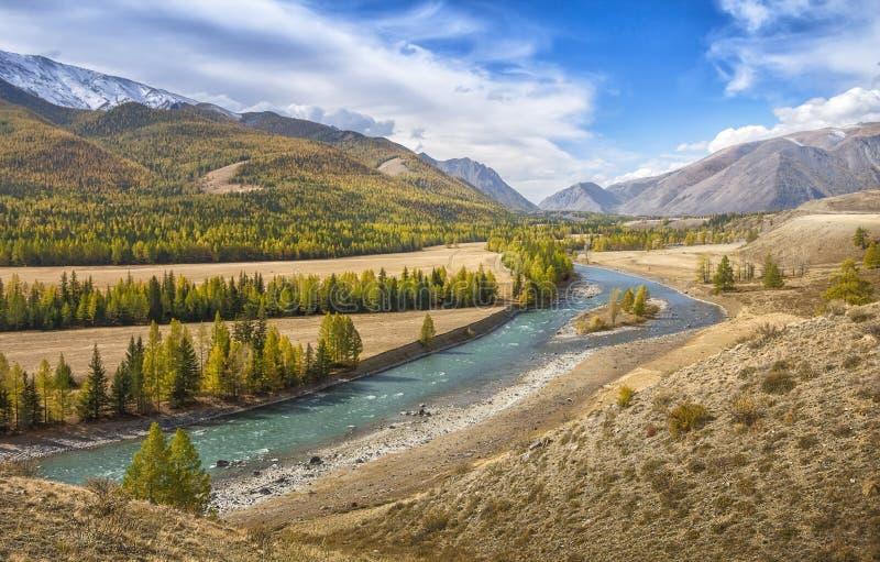 Valle del fiume della montagna un giorno soleggiato immagine stock