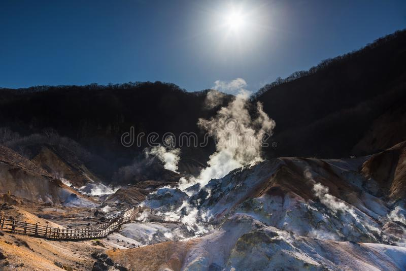 Valle dell'inferno di Jigokudani ad alba, Noboribetsu fotografia stock libera da diritti