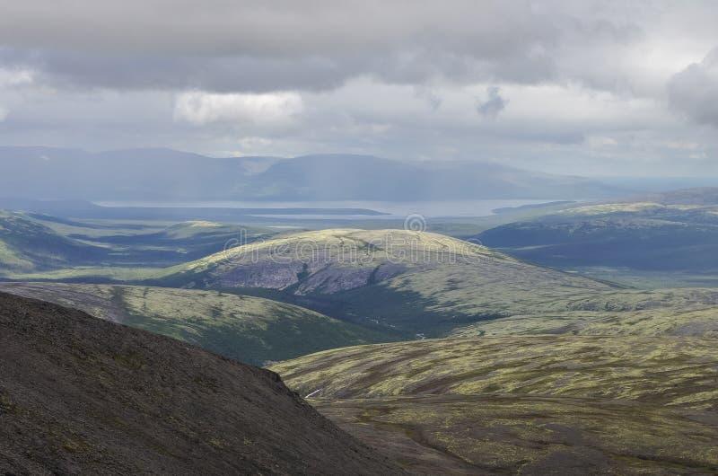Valle della montagna con i muschi e le rocce coperti di licheni Clou fotografie stock