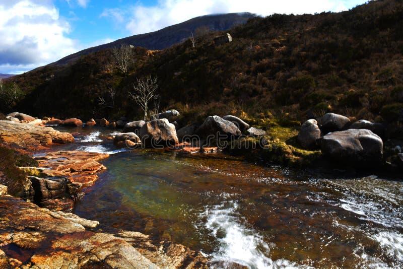 Valle dello stagno di acqua negli altopiani scozzesi fotografie stock libere da diritti