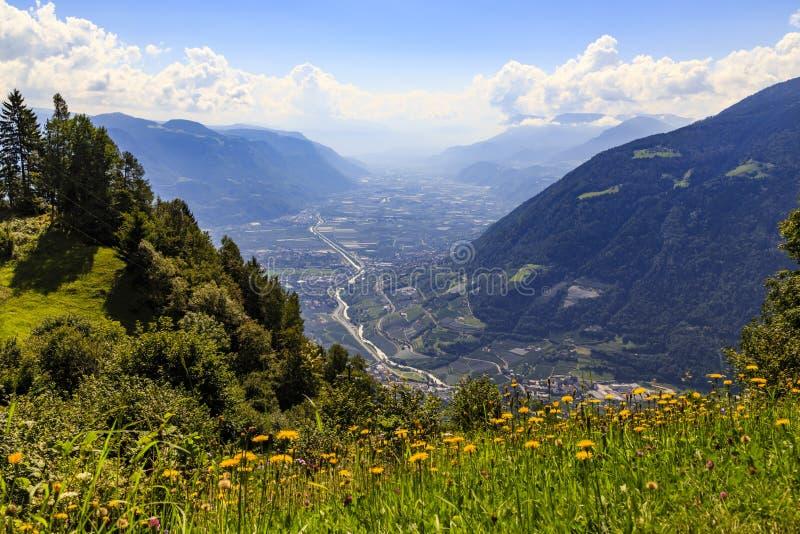 Valle di Adige nel Tirolo del sud vicino a Meran, Italia fotografia stock libera da diritti