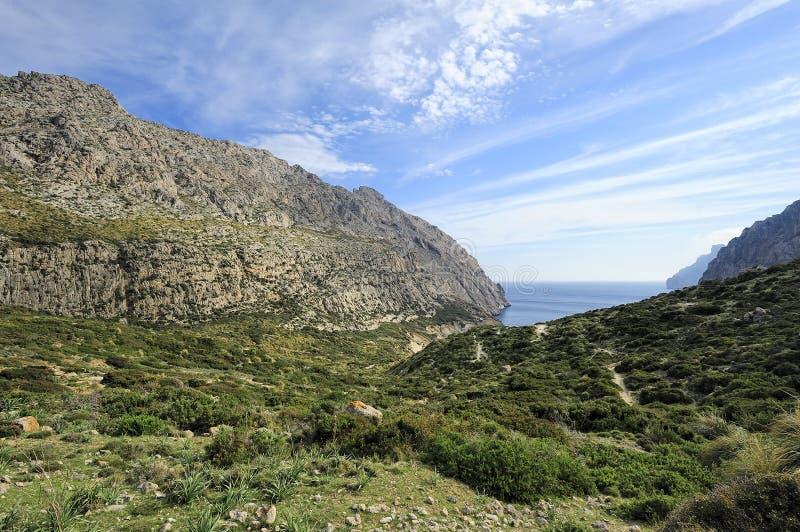 Valle di Boquer e golfo Cala Boquer, Mallorca, Spagna immagini stock