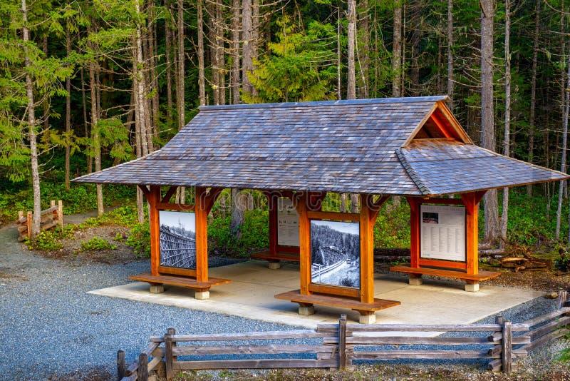 VALLE DI COWICHAN - 13 FEBBRAIO 2018: Cabina di informazioni al parco storico del cavalletto di Kinsol, uno di più grandi cavalle immagine stock