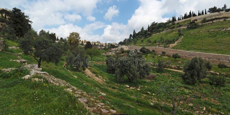 Valle di Gehenna (Hinnom) vicino alla vecchia città in Jerus fotografie stock