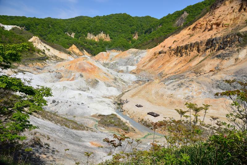 Valle di Jigokudani, vulcano attivo in Noboribetsu fotografie stock libere da diritti
