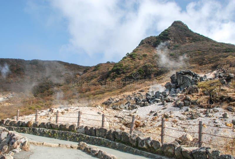 Valle di Owakudani, in HAKONE-JAPAN fotografie stock libere da diritti
