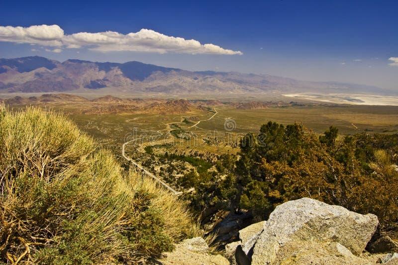 Valle di Owens da sopra immagini stock libere da diritti