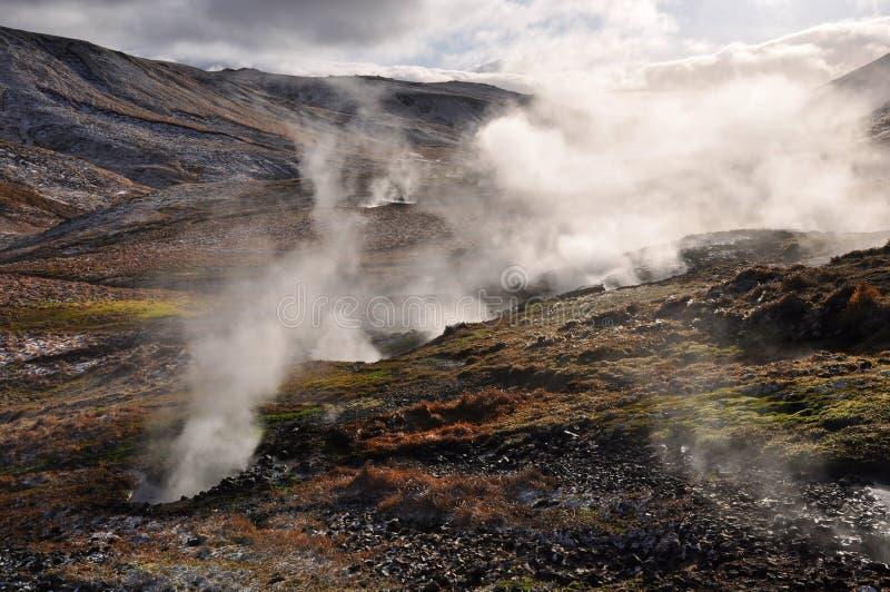 Valle di piccoli geyser, Islanda fotografie stock libere da diritti