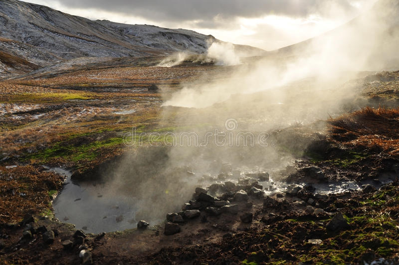 Valle di piccoli geyser, Islanda immagine stock libera da diritti