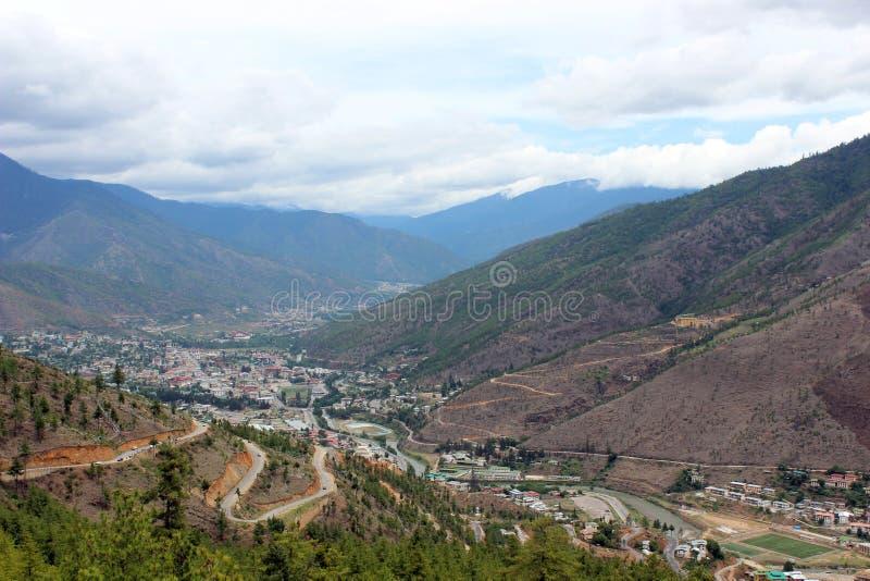 Valle di Thimphu nel Bhutan fotografia stock