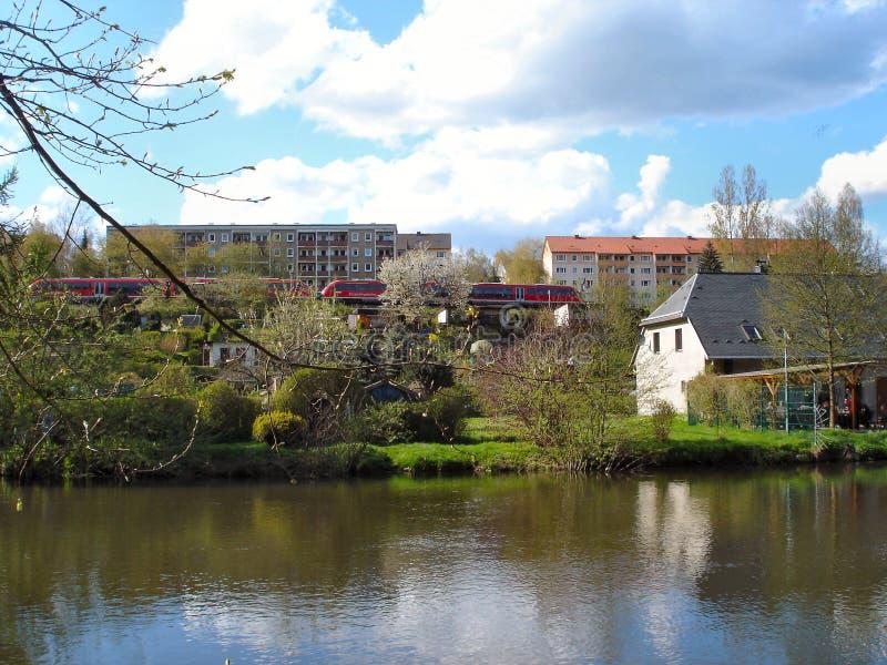 In valle di Zschopau in Erzgebirge, la Germania fotografie stock libere da diritti