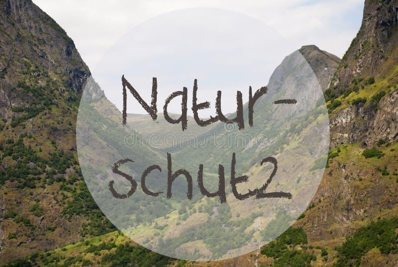 Valle e montagna, Norvegia, protezione di natura di mezzi di Naturschutz immagine stock