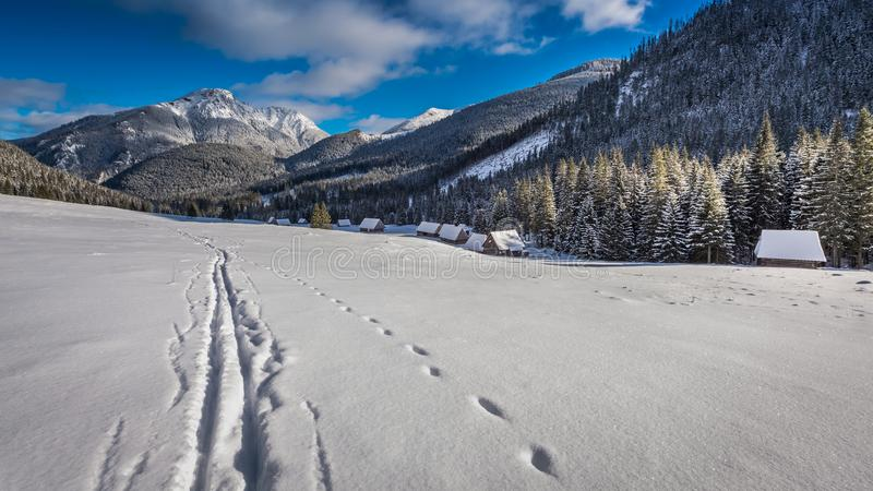 Valle en las montañas de Tatras en la salida del sol en el invierno imágenes de archivo libres de regalías