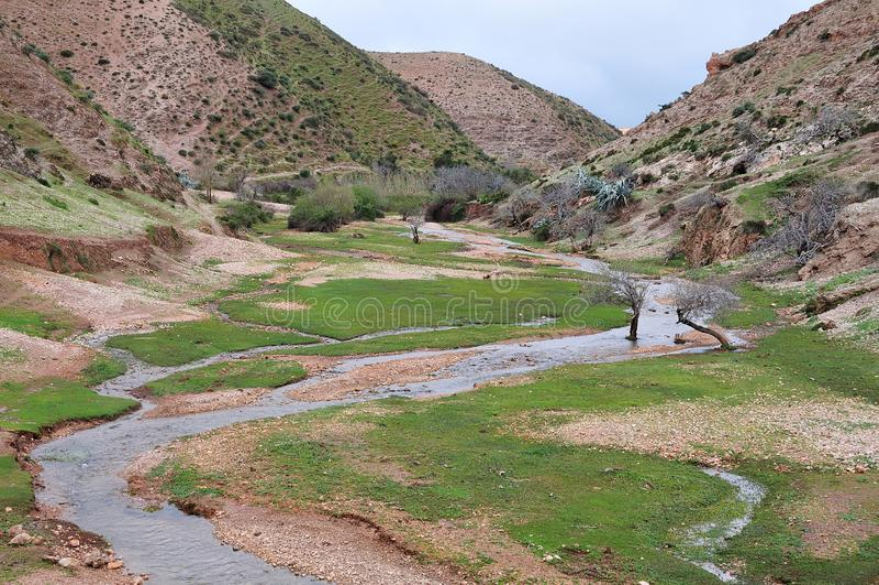 Valle en montañas de atlas, Marruecos fotos de archivo libres de regalías