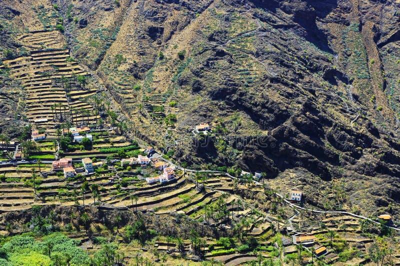 Valle Gran Rey, het eiland van La Gomera stock foto's