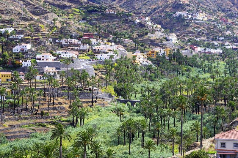 Valle Gran Rey, het eiland van La Gomera stock afbeeldingen