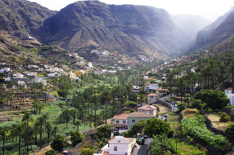 Valle Gran Rey, het eiland van La Gomera stock fotografie