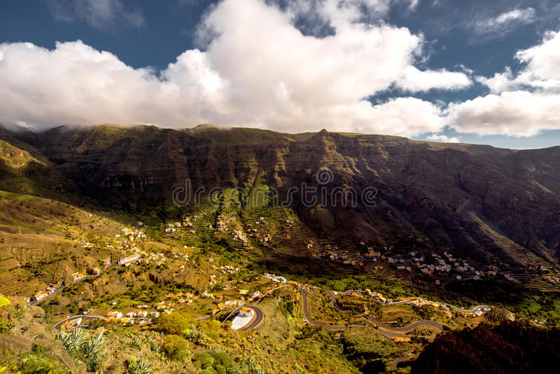 Valle Gran Rey valley on La Gomera island. Landscape view on the valley near Valle Gran Rey city on La Gomera island in Spain royalty free stock image