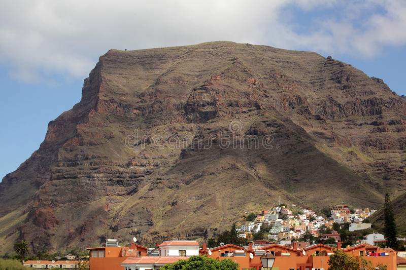 Valle Gran Rey village. Beautifully situated town in Valle Gran Rey on the island of La Gomera, one of the archipelago of Canary Islands, Spain royalty free stock photo