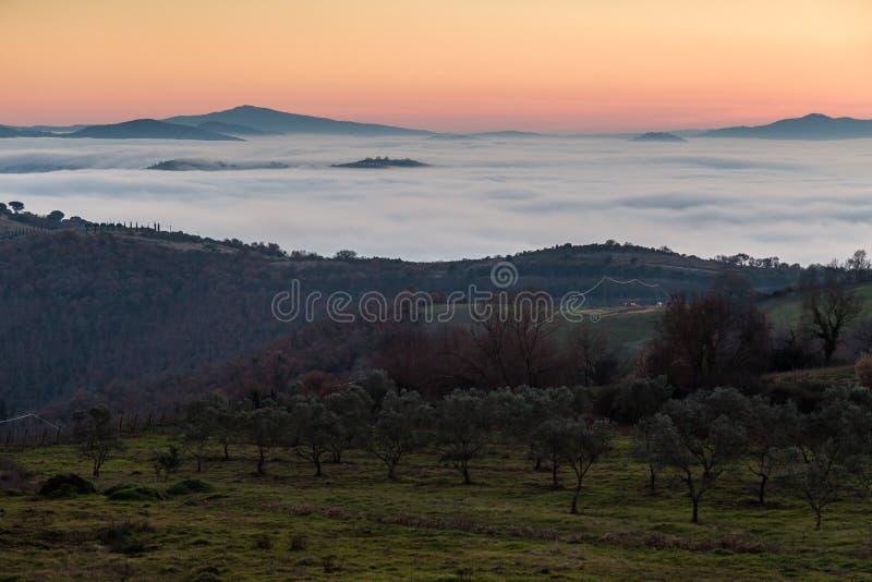 Valle llenado por la niebla en la puesta del sol foto de archivo libre de regalías