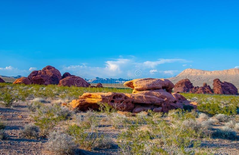 Valle rossa di vista della roccia di fuoco immagine stock