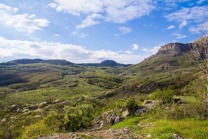 Valle verde colorido en un día soleado en el canto del horizonte, paseo en las montañas imagen de archivo