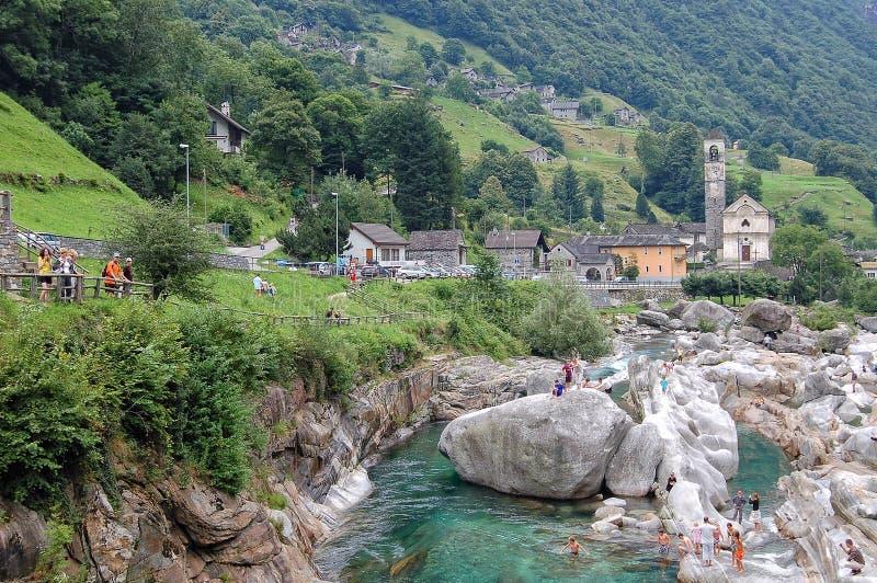 Valle Verzasca - Lavertezzo stockfoto