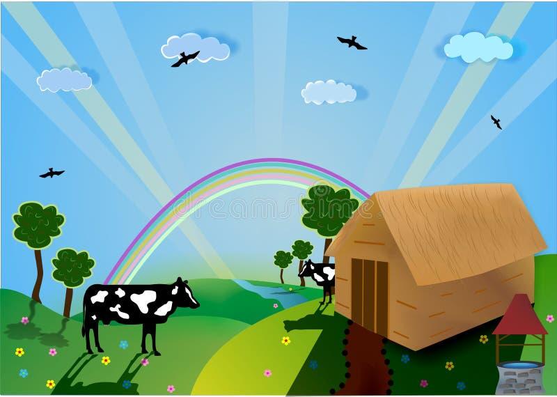Valle, vettore dell'azienda agricola immagine stock