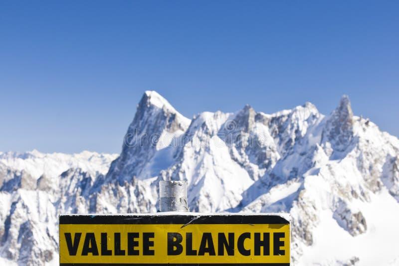 Vallee Blanche Schild lizenzfreie stockfotos