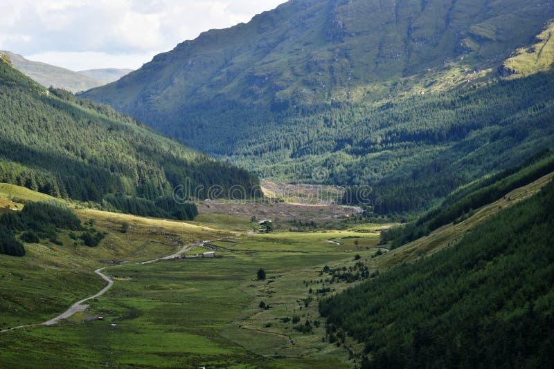 Vallei door de heuvels stock afbeelding