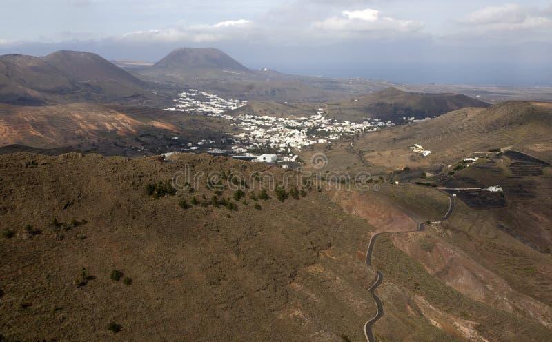 Vallei op Lanzarote stock afbeelding